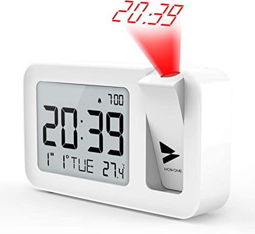 Hosome Projection Alarm Clock, Digital Alarm Clock on Ceiling with Indoor Temperature Large LCD Display and 4 Adjustable Projection Brightness with 2 Alarm Volume Setting for Bedroom, Office White