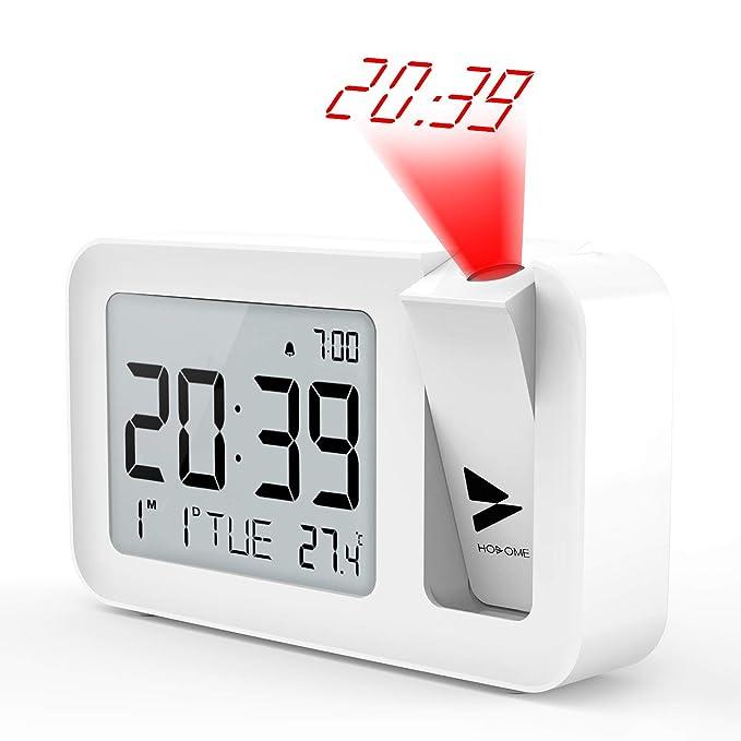 Hosome Reloj Despertador Digital Despertador Proyector con Temperatura 4 Brillo de Proyección Ajustable Volumen de 2 Niveles,Función de ...