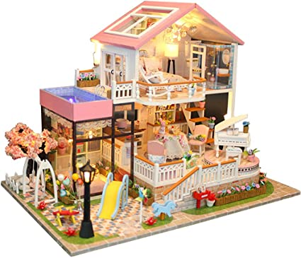 DIY Model Doll House Assembling Christmas Birthday Gift Modern House Gift US