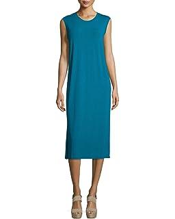 ac81e1016c7b Eileen Fisher Jewel Blue Sleeveless Round Neck Calf Length Shift Dress  Womens Size XS P