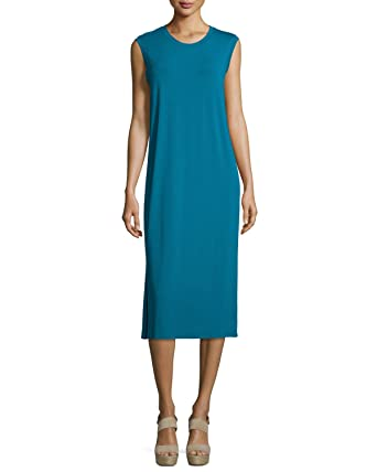 5b191d312dbe22 Image Unavailable. Image not available for. Color  Eileen Fisher Jewel Blue  Sleeveless Round Neck Calf Length Shift Dress Womens Size XS P