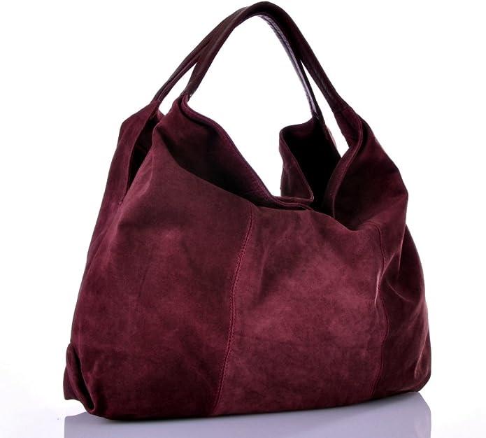STRAUSS Damen Handtasche XL Trend Bag Velours Leder Tasche