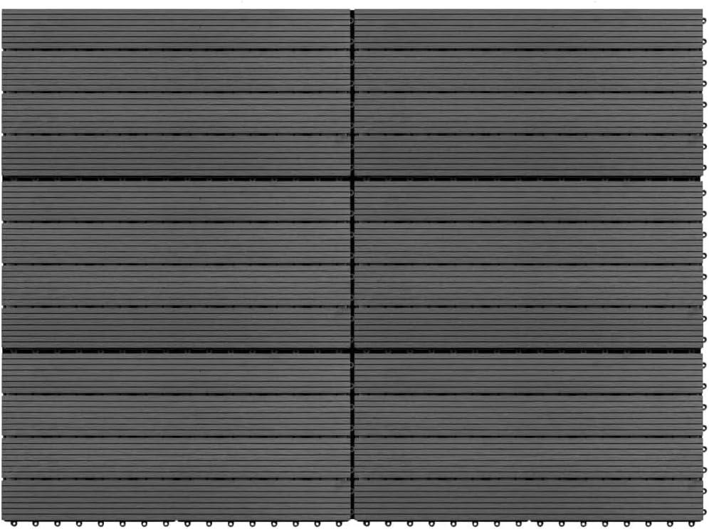 UnfadeMemory 6uds Antideslizante Baldosas de Terraza Exterior de WPC de Relieve Profundo para Patio Jardín Terraza Balcón Baño Piscina o SPA,Cada Uno 60x30cm,1 m² en Total (Gris)