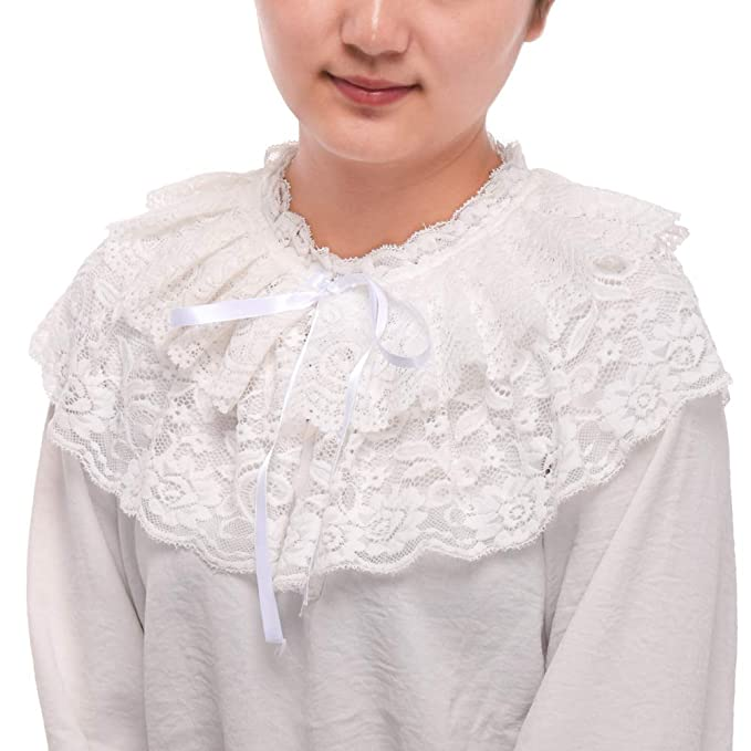 Victorian Blouses, Tops, Shirts, Sweaters BLESSUME Lace Neck Ruff Collar Mini Cape $13.98 AT vintagedancer.com