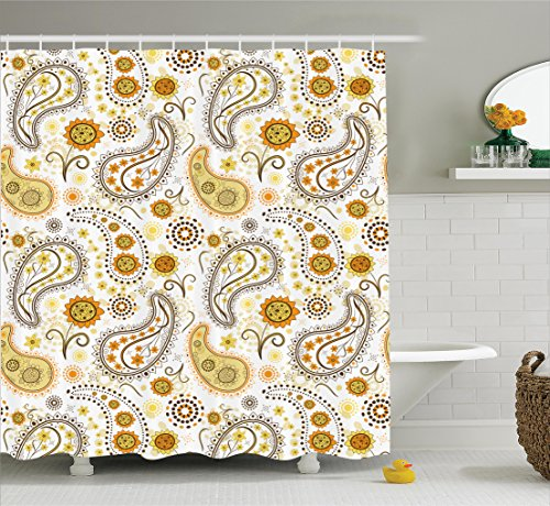Ambesonne Sunflower Shower Curtain, Ethnic Tribal Floral Pattern with Sunflowers and Paisley Vintage Boho, Fabric Bathroom Decor Set with Hooks, 84 inches Extra Long, Orange Yellow White -