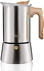 Stainless Steel Stovetop Espresso Coffee Maker|6cup espresso pot | Mocha pot 300ml |Replacement silicone gasket, steel filter and step-by-step instructions | aluminum free (1 Cup=50ml)