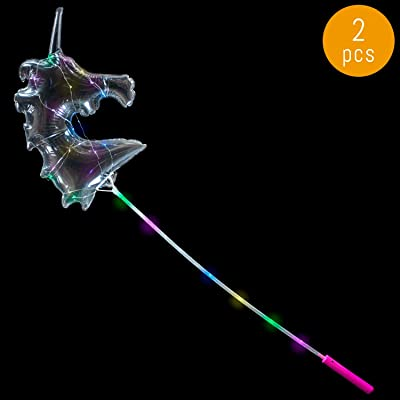 Lumistick 18 Inch Light-Up LED Bubble Balloon Unicorn Wand - Flashing Multi Color Light Stick Toy - Glowing Plastic Balloon Costumes Party Favors (Pink, 2 Wands): Toys & Games