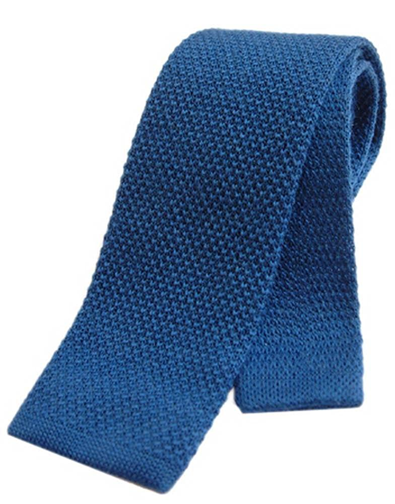 Blue Tyler and Tyler Mens Plain Knitted Wool Tie