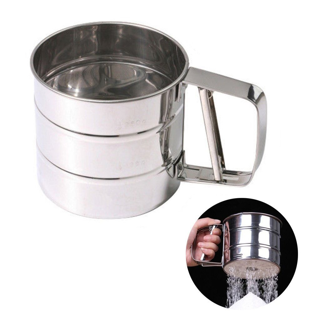 Flour Sifter Stainless Steel 3 Cup Flour Sieve for Baking quemu