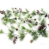 CraftMore Winter Smokey Pine Christmas Garland + Snow + Cones
