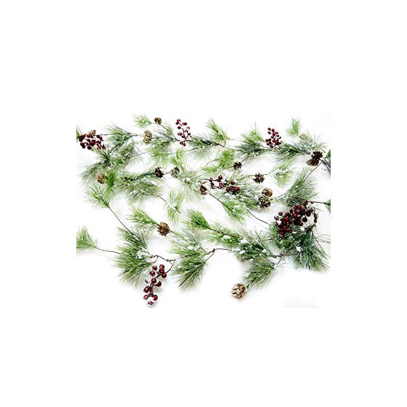 silk flower arrangements craftmore winter smokey pine christmas garland with snow, berries and pine cones