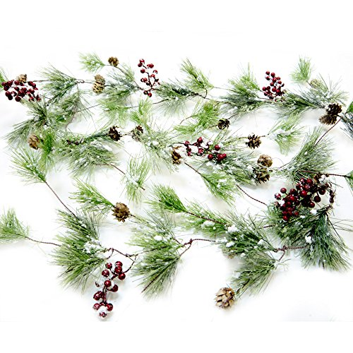CraftMore Winter Smokey Pine Christmas Garland with Snow, Berries and Pine -
