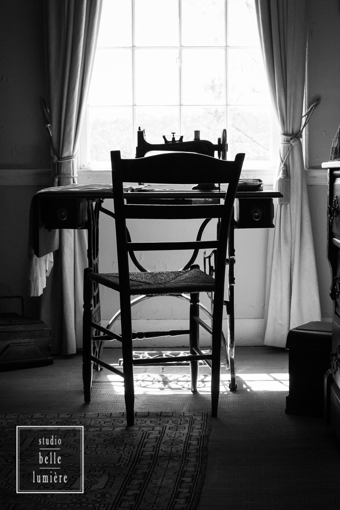 Vintage Country Decor - Sewing Room with Antique Sewing Machine by Window Light - Black and White Fine Art Photography Print - 8x10, 8x12, 10x15, 11x14, 12x18, 16x20, 16x24
