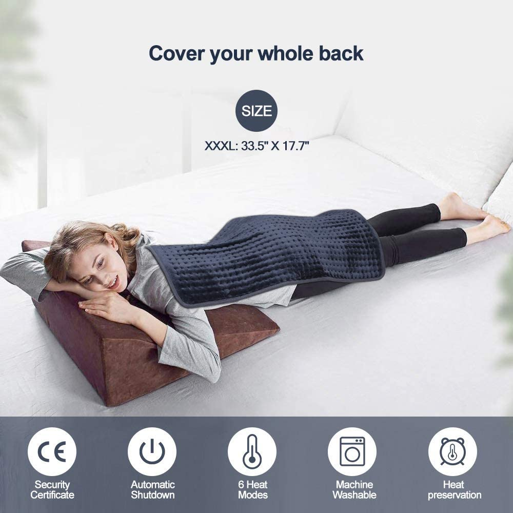 Electric Heating Pad for Back Pain and Cramps Relief, Moist and Dry Heat Therapy,6 Heat Levels with Auto-Off,Fast Soothe Muscle Cramps and Soreness Heated Pad
