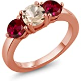 Gem Stone King 1.80 Ct Round Peach Morganite Red Created Ruby 18K Rose Gold Plated Silver Ring