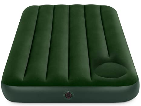 Intex Colchón Hinchable Flocado, Verde, 99x121x22 cm
