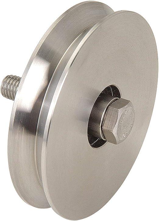 Rueda de acero inoxidable con ranura en cuña de 80 cm de diámetro para puertas correderas, puertas de hasta 200 kg: Amazon.es: Bricolaje y herramientas