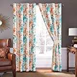 4 Piece Turquoise Blue/Orange/Grey Patchwork Microfiber Curtain Set 108 inch Wide X 84 inch Long (2 window panels, 2 ties) For Sale