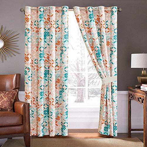 - 4 Piece Turquoise Blue/Orange/Grey Patchwork Microfiber Curtain Set 108 inch Wide X 84 inch Long (2 Window Panels, 2 Ties)