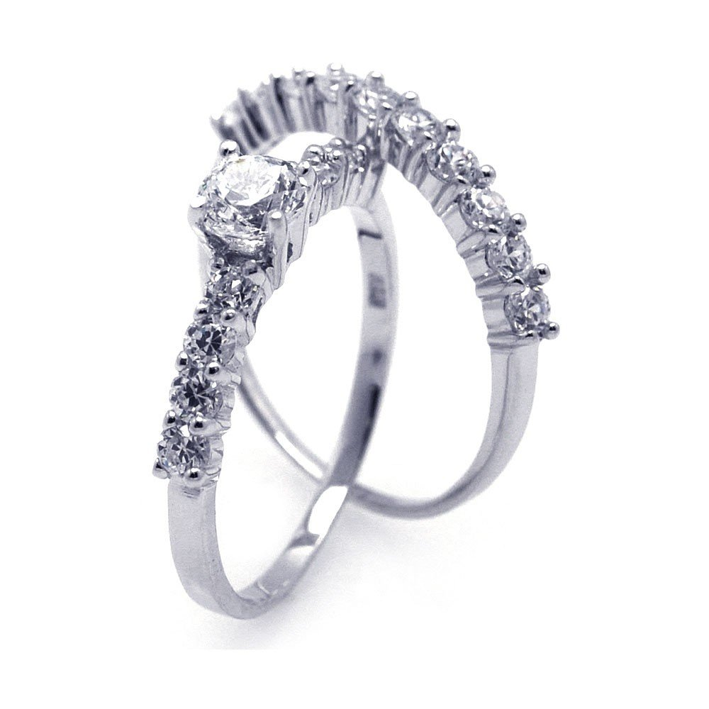 Princess Kylie Channel Set Clear Cubic Zirconia Two Piece Set Ring Rhodium Plated Sterling Silver