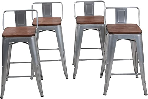 Changjie Furniture Low Back Industrial Metal Bar Stool for Indoor Kitchen Counter Bar Stools Set of 4 24 inch, Low Back Silver with Wooden Top