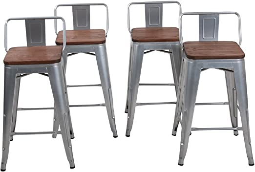 Changjie Furniture Low Back Industrial Metal Bar Stool for Indoor Kitchen  Counter Bar Stools Set of 4 (24 inch, Low Back Silver with Wooden Top)