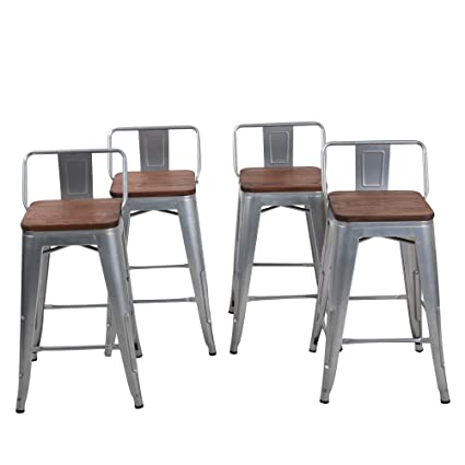 Changjie Furniture Low Back Metal Bar Stool For Indoor Outdoor Kitchen  Counter Bar Stools Set