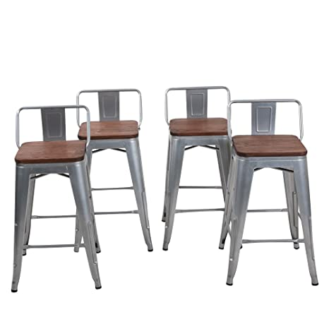 Stupendous Changjie Furniture Low Back Metal Bar Stool For Indoor Outdoor Kitchen Counter Bar Stools Set Of 4 26 Inch Low Back Silver With Wooden Top Andrewgaddart Wooden Chair Designs For Living Room Andrewgaddartcom