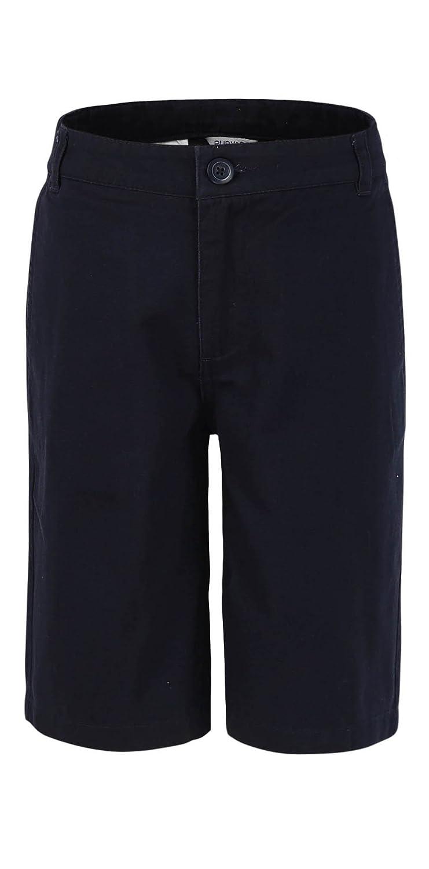Bienzoe Boy's School Uniforms Flat Front Cotton Twill Bermuda Long Shorts