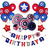 BALONAR Captain America Themed Party Decoration Captain's Shield Balloon Decoration Happy Birthday Banner American Fan Paper Decoration Backdrop Baby Shower Decoration