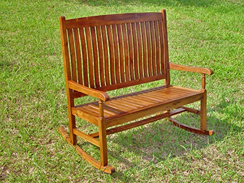 International Caravan Highland Acacia Stained Double Porch Rocker ()