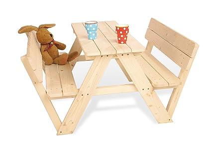 Pinolino Kindersitzgarnitur Nicki für 4 mit Lehne, aus massivem Holz, 2 Bänke mit Rückenlehne, 1 Tisch, empfohlen ab 2 Jahren