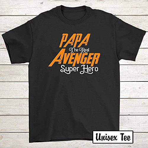 Poppa is My Superhero Navy Adult T-Shirt