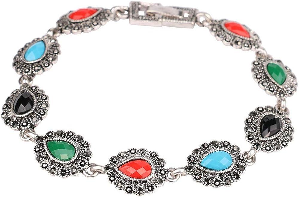 XBJ Pulsera de Mujer de Piedras Preciosas Coloridas de Estilo étnico, aleación Antigua chapada con Plata Antigua y Diamantes