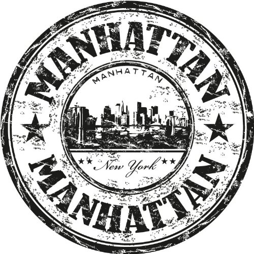 Manhattan New York United States USA Travel Stamp Car Bumper Sticker Decal 5' x 5' Evronova