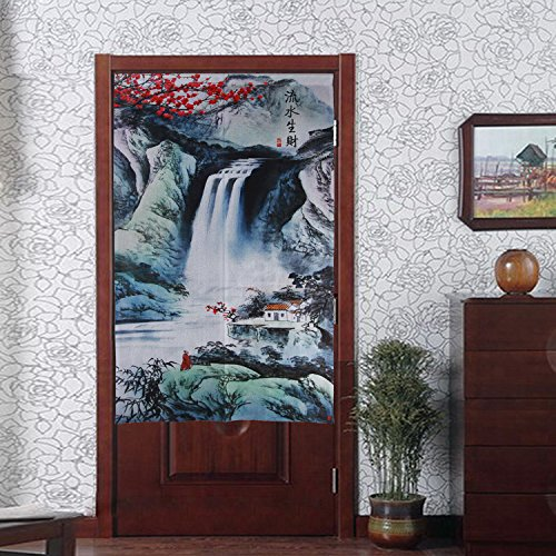 Chinese Traditional Ink Landscape and Plum Trees Washpainting Door Curtain Noren Bedroom Doorway Curtain (Dark Green) by LifEast