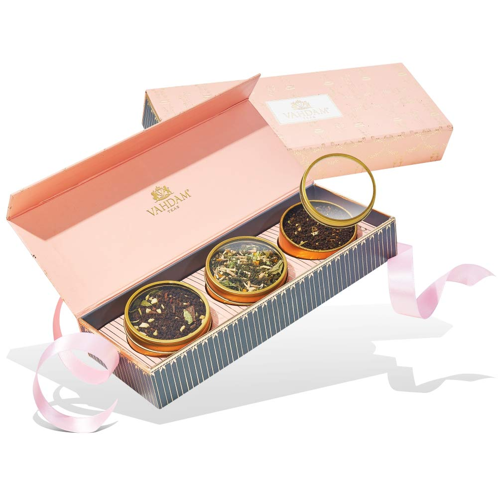 VAHDAM, Assorted Tea Gift Set - BLUSH - 3 Teas in a Presentation Tea Sampler Gift Box 🎁 | OPRAH'S FAVORITE TEA 2018-100% Natural Ingredients - Perfect Birthday gift for Mom | Gifts for Women