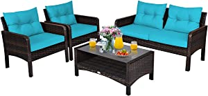 Tangkula 4 Piece Patio Furniture Set, Outdoor Wicker Conversation Set with Glass Top Coffee Table, All Weather Proof and Thick Cushions, Suitable for Porch, Garden, Poolside and Lawn (Turquoise)