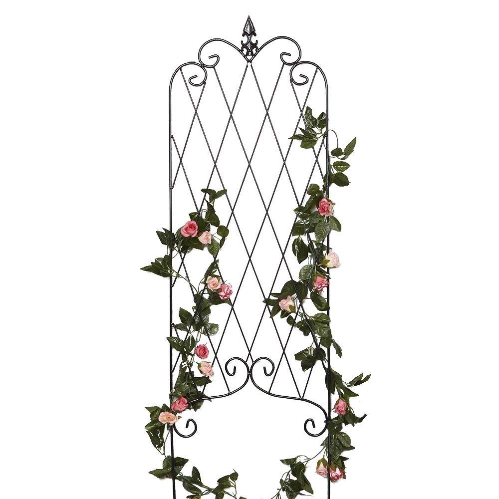 Amagabeli 46u201d X 15u201d Rustproof Black Iron Garden Trellis For Climbing Plants  Potted Vines Vegetables Vining Flowers Patio Metal Wire Lattices Grid  Panels For ...