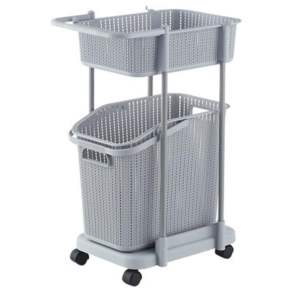 Kinue Home DecorAddition Diaper Toy Hamper Laundry Baskets- Laundry Basket | Hollow Design | Double Layer | with Wheels (Color : Gray) (Color : Gray)