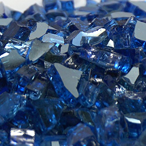 Royal Blue Metallic / Cobalt Blue Reflective ''Fire Glass'' - 1/4 Inch Reflective FireGlass - 10 Pounds - Designed for Fire Pits and Fireplaces by Fire On Glass