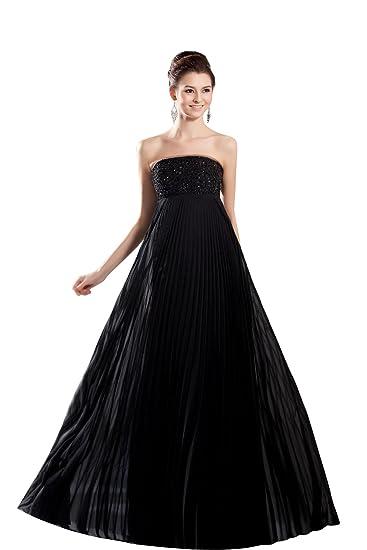 d8702c1acc565  Wonderfulドレス 正統派お嬢様風 黒ロングドレス エンパイアライン プロムで注目