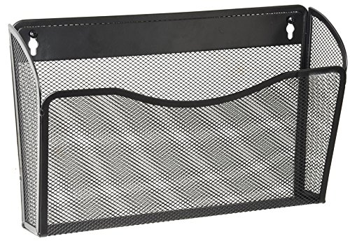 DESIGNA Its-Organized Mesh Collection Letter-size Pocket Holder Metal Wall File Organizer for Home/Office, Black, 1 Pack