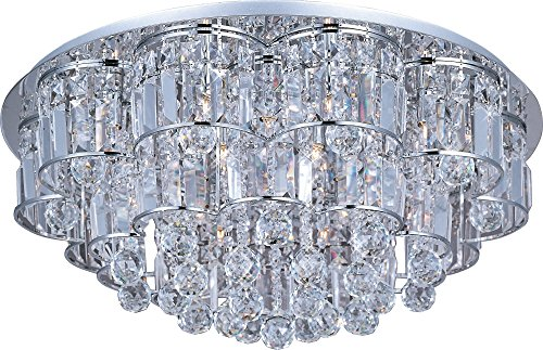 Voltage Chandelier Low Frame - ET2 E23258-20PC Bangle 20-Light Flush Mount, Polished Chrome Finish, Crystal Glass, G9 Xenon Bulb, 40W Max., Dry Safety Rated, 2900K Color Temp., Low-Voltage Electronic Dimmer, Glass Shade Material, 3000 Rated Lumens