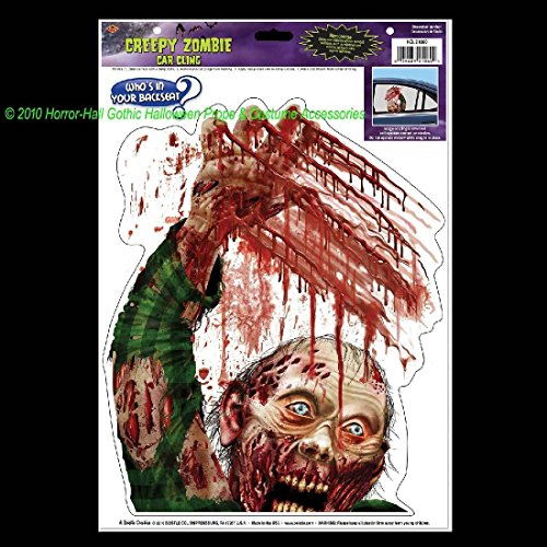 Fang Banger Costume (Bloody Horror-ZOMBIE BACKSEAT DRIVER CLING-Walking Dead Car Decal Window Sticker)