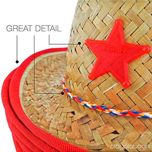 Dozen Straw Cowboy Hats with Cowboy Bandanas (6 Red & 6 Blue) for Kids - Makes Great Birthday Party Hats for Boys and Girls by Play Platoon (Image #3)