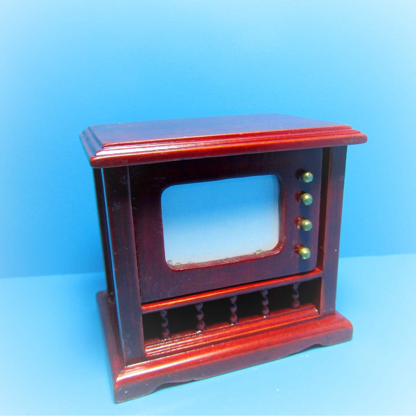 Dollhouse Console Television/TV in Mahogany KL2231 - Miniature Scene Supplies Your Fairy Garden - Doll House - Outdoor House Decor