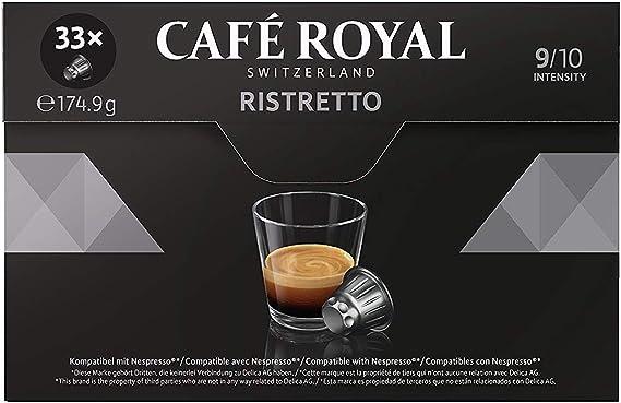 Café Royal Ristretto 132 cápsulas compatibles con Nespresso (R)* - Intensidad: 9/10 - 4 x Pack de 33 cápsulas - para el sistema Nespresso (R)* - UTZ ...