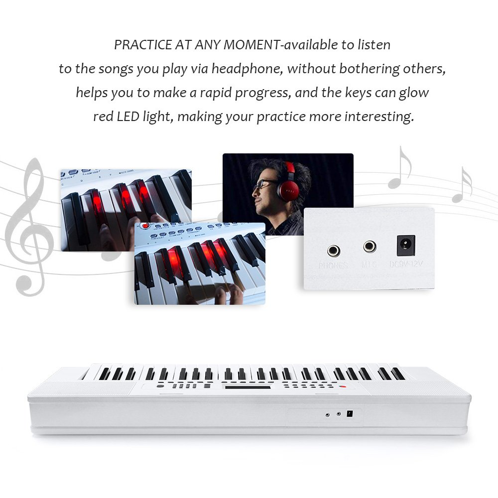 Electronic Keyboard Piano, 49-Lighted Key Electric Piano Keyboard with 3 Teaching Mode, Microphone, 200 Tones, 200 Rhythm, 50 Demo Songs, 5 Percussion, White by Vangoa (Image #7)