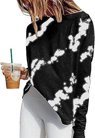 Otoño e Invierno Cuello Redondo Estampado Casual Casual Manga Larga Algodón Recto Camiseta Mujer: Amazon.es: Ropa y accesorios